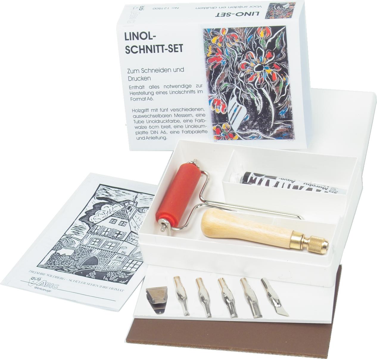 Linolschnitt Set mit Sicherheitshalter für den Linoldruck